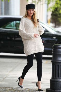 Blake lively in a baker boy hat and a sweater dress