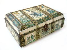 French vintage very large tin box. Medieval treasure by Chanteduc