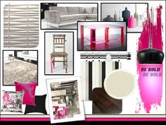 Contemporary Colour Scheme Mood board - Taupe, Black and Pink