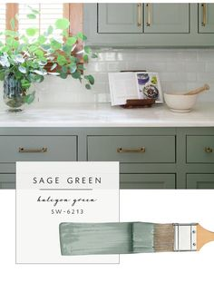 Green Kitchen Paint Ideas Our top Color Palette Trends Spring 2017 Sage Green Sage Green Kitchen, Green Kitchen Cabinets, Painting Kitchen Cabinets, Oak Cabinets, Kitchen Walls, White Cabinets, Kitchen Countertops, Kitchen Tile, Kitchen Cabinetry