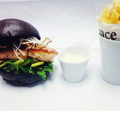 Le Winter Black Burger by Chef Erwan for La Gourmandise - Salmon, Avocado & Zig Zag Fries #FStaste #Unique @Mandy Dewey Seasons Hotel Cairo at The First Residence #First #Residence