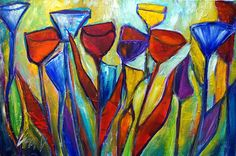 TULIPS Abstract Original Painting Flowers Modern Art Yellow