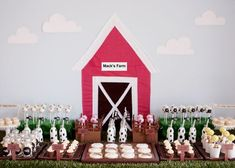 My nephew would adore this farmhouse themed dessert table - but what a crazy amount of work!