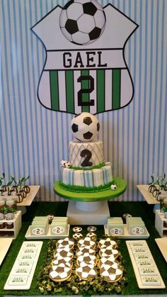 Soccer birthday party table and desserts! See more party ideas at CatchMyParty.com!