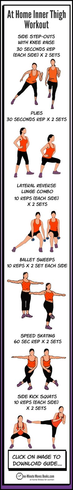 Containing 6 sculpting moves, the free at home #innerthighworkout Guide helps to tone, trim and strengthen inner thighs. #innerthighexercises #innerthighworkouts #legworkout