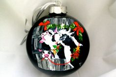 Hand Painted Ornament-3 Cows-Item 822 by reneesprettypainted