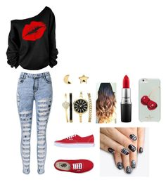 """clubby outfit"" by tessabol on Polyvore featuring Vans, Erica Weiner, alfa.K, MAC Cosmetics and Kate Spade"