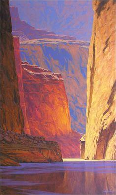 Deeper in the Canyon - Cody DeLong - oil Abstract Landscape, Landscape Paintings, Painting Abstract, Acrylic Paintings, Western Landscape, Southwestern Art, Desert Art, Environment Concept Art, Le Far West