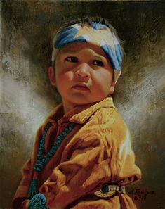Little Navajo Boy -- by Alfredo Rodriguez [google source leads to Pinterest board of Brenda B. which loops back to google, and the cycle continues; could not find origination.]