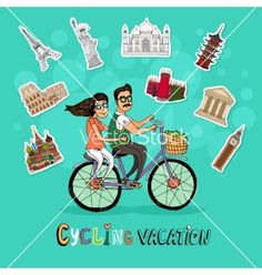Couple on a cycling vacation vector by neyro2008 on VectorStock®