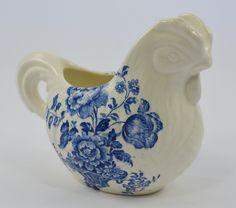Vintage Blue Transferware Chicken / Nesting Hen Shaped Pitcher Creamer