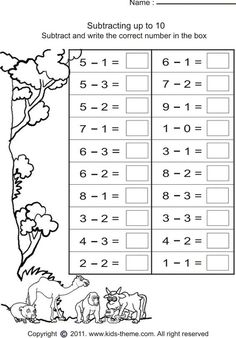 subtract numbers and write answer