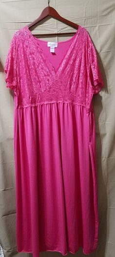 09dc8c42b24 Amoureuse Hot Pink Sexy Negligee Nightgown Plus Size Womens 4X EUC FREE  SHIPPING #Amoureuse #