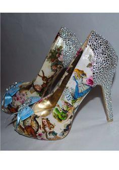 Alice in Wonderland Custom Crystal Heel Shoes by BecciBoosCustomShoes on Etsy