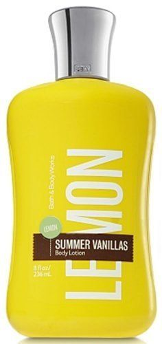 Bath & Body Works Lemon Summer Vanillas Body Lotion 8 fl oz (236 ml) by Bath & Body Works. Save 55 Off!. $4.70. Durable 8 oz Plastic Bottle with Flip Top Lid Dispenser. A Bright Blend of Refreshing Lemon and Cool Vanilla that's the Essence of Sparkling Summer Sun. Non-Greasy, Sheer Formula Absorbs Quickly to leave skin Soft, Smooth, and Beautifully Fragrant. Fortified with Super Conditioning Shea Butter, Fast Absorbing Jojoba Oil & Protective Vitamin E. Bath & Body Works Summer Vanillas…