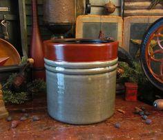 Primitive Antique Vtg Style Grey Burgundy Crackle Glazed Stoneware Planter Crock #NaivePrimitive