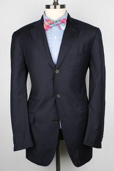 $1595+ ETRO Navy Wool 40 R mens Sport Coat Blazer #Etro #ThreeButton
