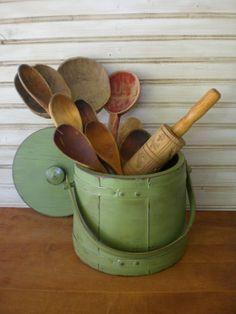Vintage Primitive Wooden Firkin Sugar Pantry by redshedvintage