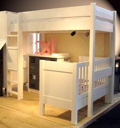 Lit mezzanine bois massif 180 Mathy by Bols avec lit bébé