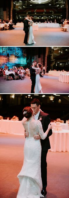 dancing for the first time as husband and wife wearing Sophia Tolli Gabrielle - Style Y11702 - lace trumpet wedding dress with illusion 3/4 length sleeves