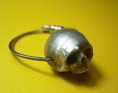 Carved Pearl Skull Ring by SHINJI NAKABA