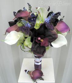 Plum lavender Wedding bouquet calla lily orchid bridal bouquet silk wedding flowers. $120.00, via Etsy.