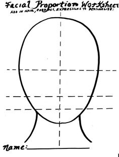 face proportions worksheet Face Proportions, Proportion Art, Portrait Drawing Tips, Portraits For Kids, Human Face Drawing, Sketchbook Assignments, Art Handouts, 6th Grade Art, Human Figures