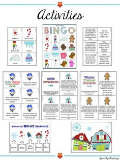 Winter Themed Speech and Language Packet Speech Language Therapy, Speech And Language, Winter Theme, Comprehension, Bingo, Back To School, Activities, Dementia, Cards