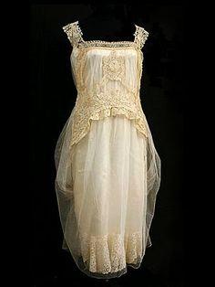 Brussels mixed lace, custom-designed wedding dress, c.1923.