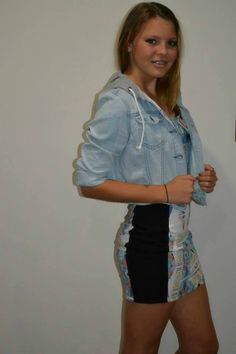 gorgeous fitted dress and denim jacket