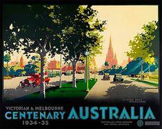 Kilda Rd - Vintage Travel Poster by James Northfield Vintage Advertising Posters, Vintage Travel Posters, Blue Mountains Australia, Posters Australia, Melbourne Travel, Australian Vintage, Retro Poster, Tourism Poster, St Kilda