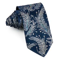 Rhinestone Tie By Mila Schon Silver Floral On Navy Blue Silk With Silver Sparkles