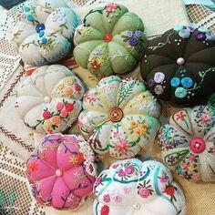 #Embroidery#stitch#needlework #프랑스자수#일산프랑스자수#자수 #호박핀쿠션~ #알록달록 기분전환 소품만들기~