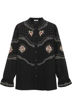 VILSHENKO sophisticated Calina embroidered cotton blouse