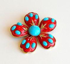 1950s HAR Flower Brooch Vintage Daisy Pin Red by retrogroovie #vogueteam #vintage #jewelry