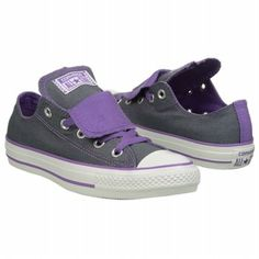 Athletics Converse Women's Chuck Taylor Double Tongue Low Top Sneaker Grey/Purple Shoes.com