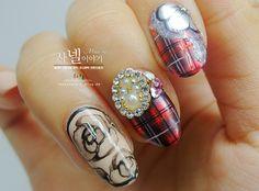 checkered nail art!  visit http://saranail.blogspot.com/ #nail #nail art #manicure #nail designs #checkered nail #nail art