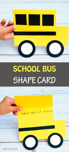 School bus shape card - an easy back to school craft for kids. Include a photo of the kids on the first day of school or write a short message. School Bus Art, School Bus Crafts, Back To School Crafts For Kids, Back To School Art, Diy Gifts For Kids, School Art Projects, Crafts For Kids To Make, First Day Of School, School School