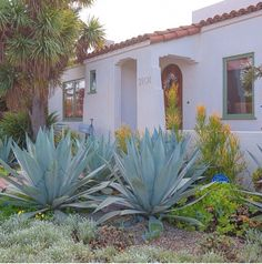 Spanish home inspo succulents agave front yard goals california bungalow Spanish Revival, Spanish Style Homes, Spanish House, Spanish Colonial, Spanish Garden, Home Landscaping, Front Yard Landscaping, Spanish Landscaping, Succulent Landscaping