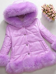 ffe71c9d054b Kids Girls  Basic Solid Colored Long Sleeve Faux Fur Down   Cotton ...