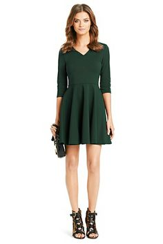 The fit-and-flare Jeannie gets a sophisticated twist with a chic v-neck and 3/4 sleeves. http://on.dvf.com/1eLkmXu