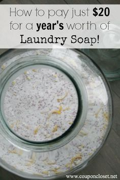 How I make  Homemade Laundry Detergent and spend only $20 per year for our family of 6 laundry detergent.