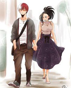 Shouto Todoroki & Momo Yaoyorozu - Boku No Hero Academia☆ Boku No Hero Academia, My Hero Academia Memes, Hero Academia Characters, My Hero Academia Manga, Anime Couples Manga, Cute Anime Couples, Momo Yaoyorozu, Fanart Manga, Anime Amor