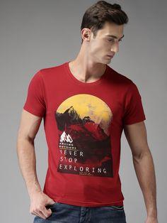 Buy Moda Rapido Men Red Printed Round Neck T Shirt - Tshirts for Men 2365795 | Myntra