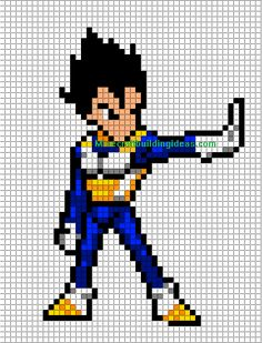 Vegeta Dragon Ball  perler bead pattern