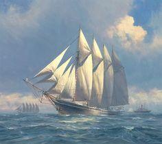 Bertha L Downs – Four-masted schooner, 1908, modern painting by Geoff Hunt