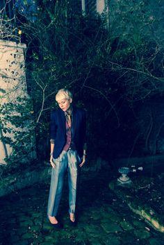 Jacket, Ventilo; Vest, Ventilo; Shirt, Vintage; Tie, Vintage; Pants, Yohji Yamamoto; Shoes, Pierre Hardy