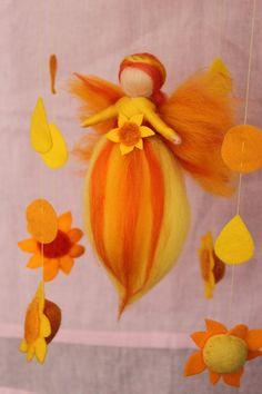 """Mobile """"Sonnenschein"""" mit kleiner Sonnenfee, von Jalda auf  www.DaWanda.com/Shop/Jalda-Filz #DIY #Sonne #Fee #Taufe #Geburt #Waldorfart"""