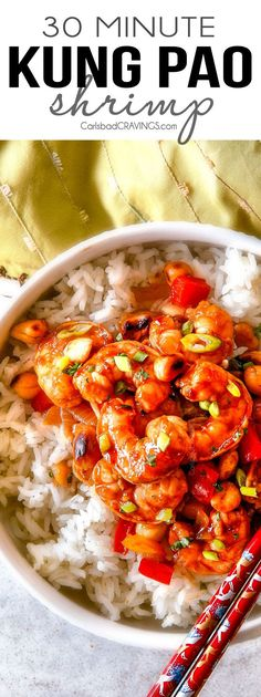 This easy, healthy, Kung Pao Shrimp tastes better than takeout and is on your table in less than 30 minutes!