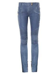 Leather low-rise skinny trousers | Balmain | MATCHESFASHION.COM